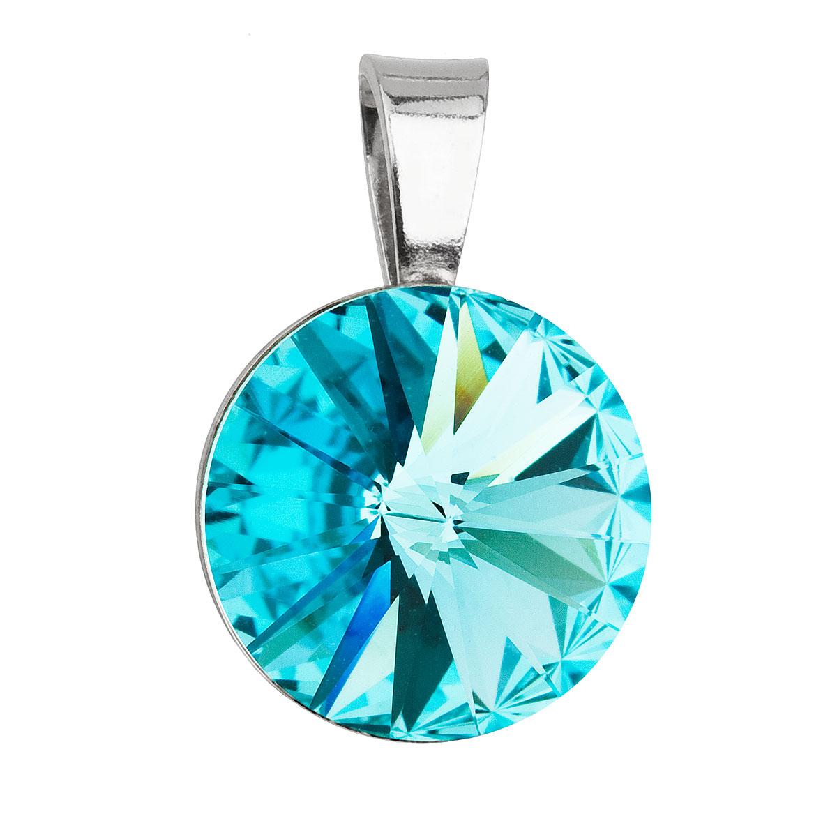 Strieborný prívesok s krištáľmi Swarovski modrý okrúhly-rivoli 34112.3 light turquoise