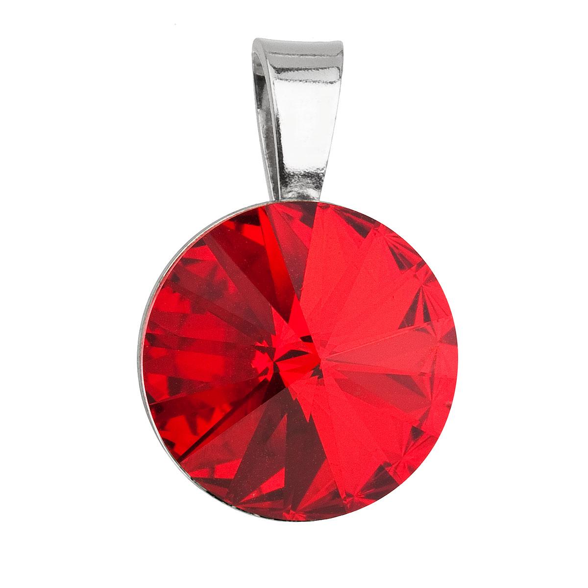 Strieborný prívesok s krištáľmi Swarovski červený okrúhly-rivoli 34112.3