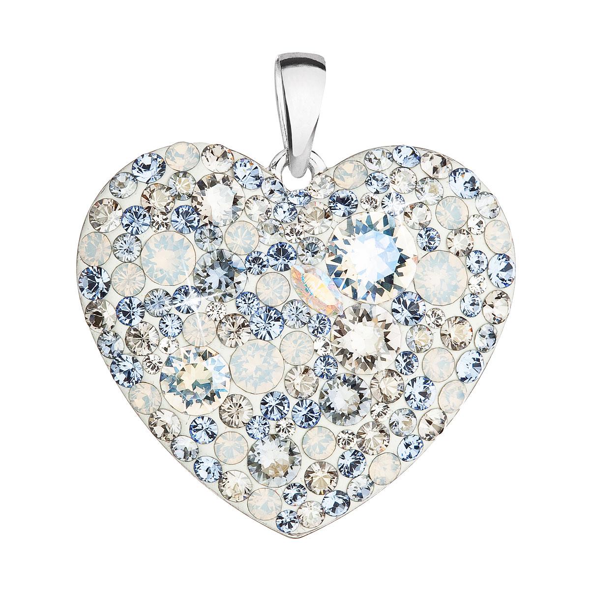 Strieborný prívesok s krištáľmi Swarovski modré srdce 34243.3 light sapphire
