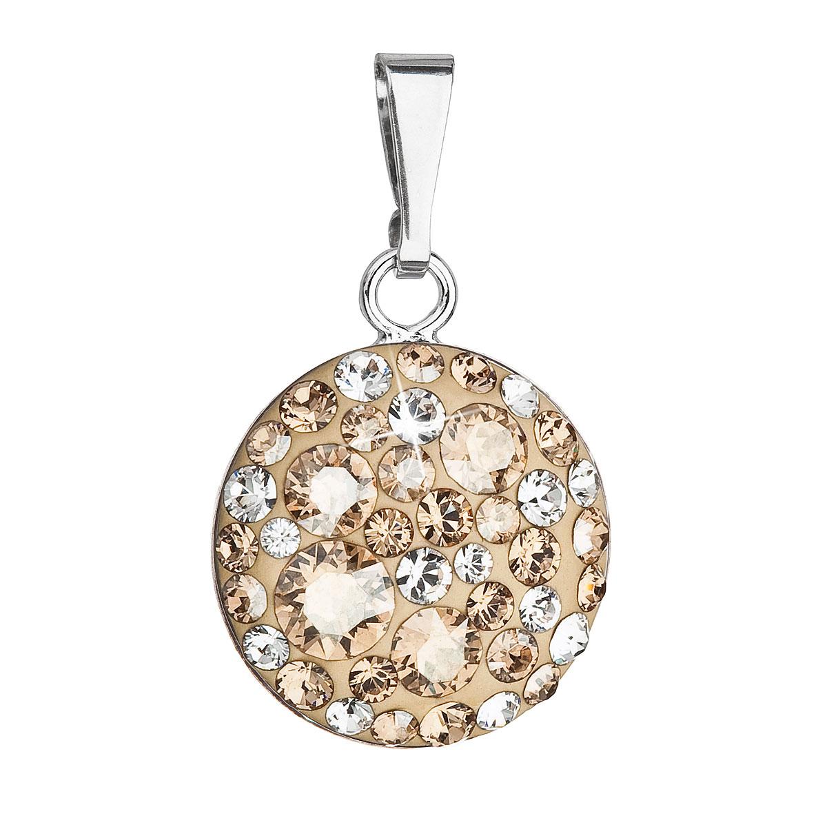 Strieborný prívesok s krištálmi Swarovski zlatý okrúhly 34225.5 gold