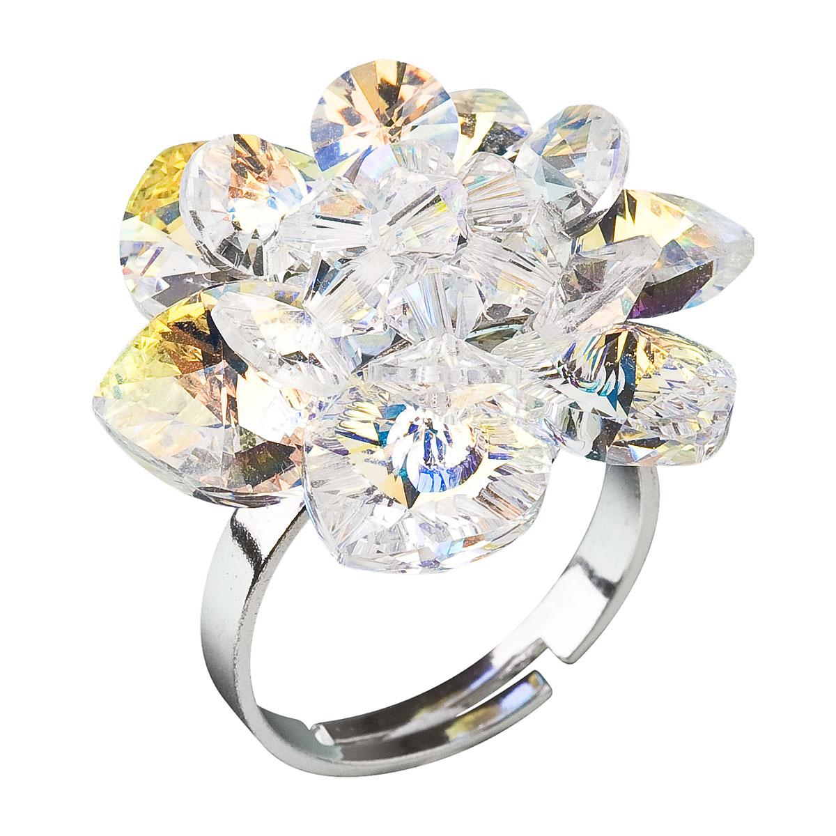 Strieborný prsteň s krištáľmi Swarovski AB efekt biely kvietok 35012.2