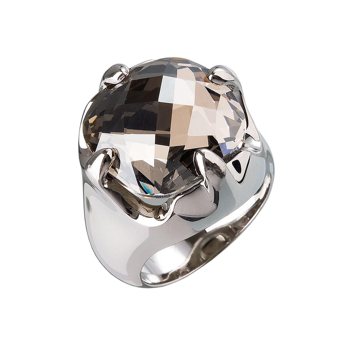 Strieborný prsteň s krištálmi sivý 35803.1
