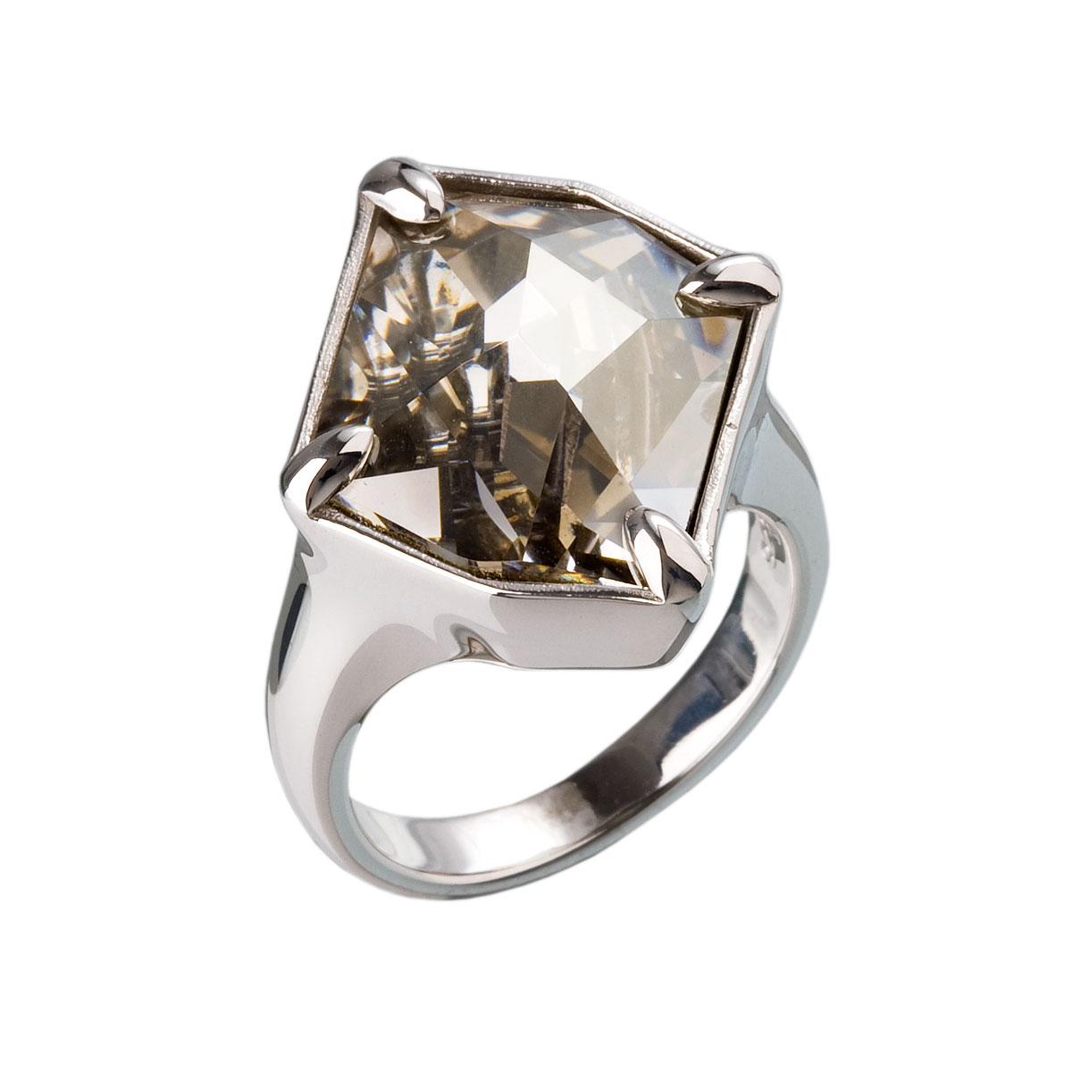 Strieborný prsteň s krištálmi šedý 35805.5
