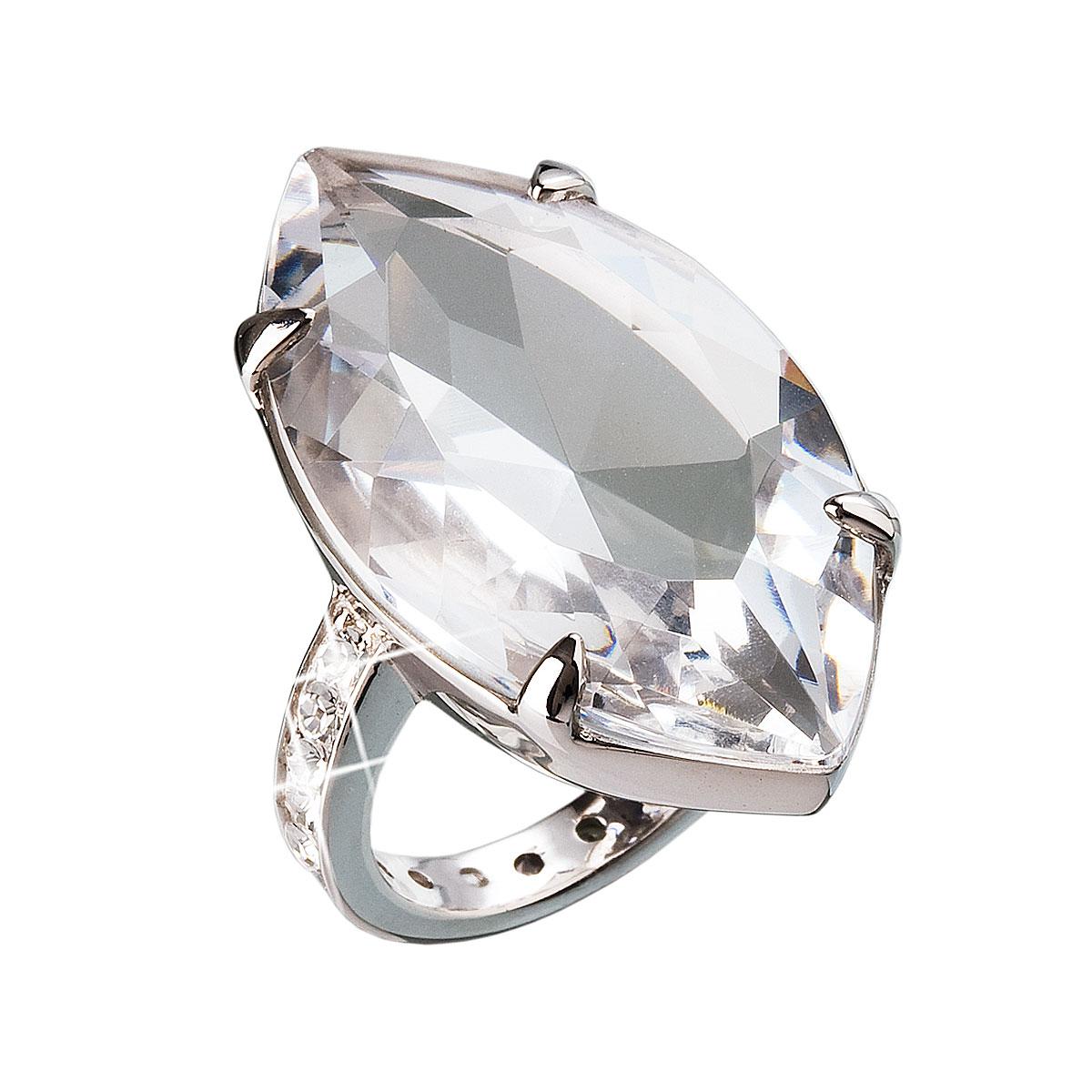 Strieborný prsteň s krištálmi biely 35807.1