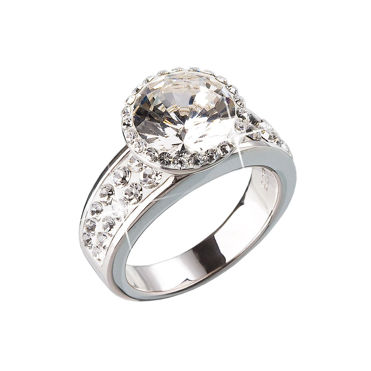 Strieborný prsteň s krištálmi biely 35809.1
