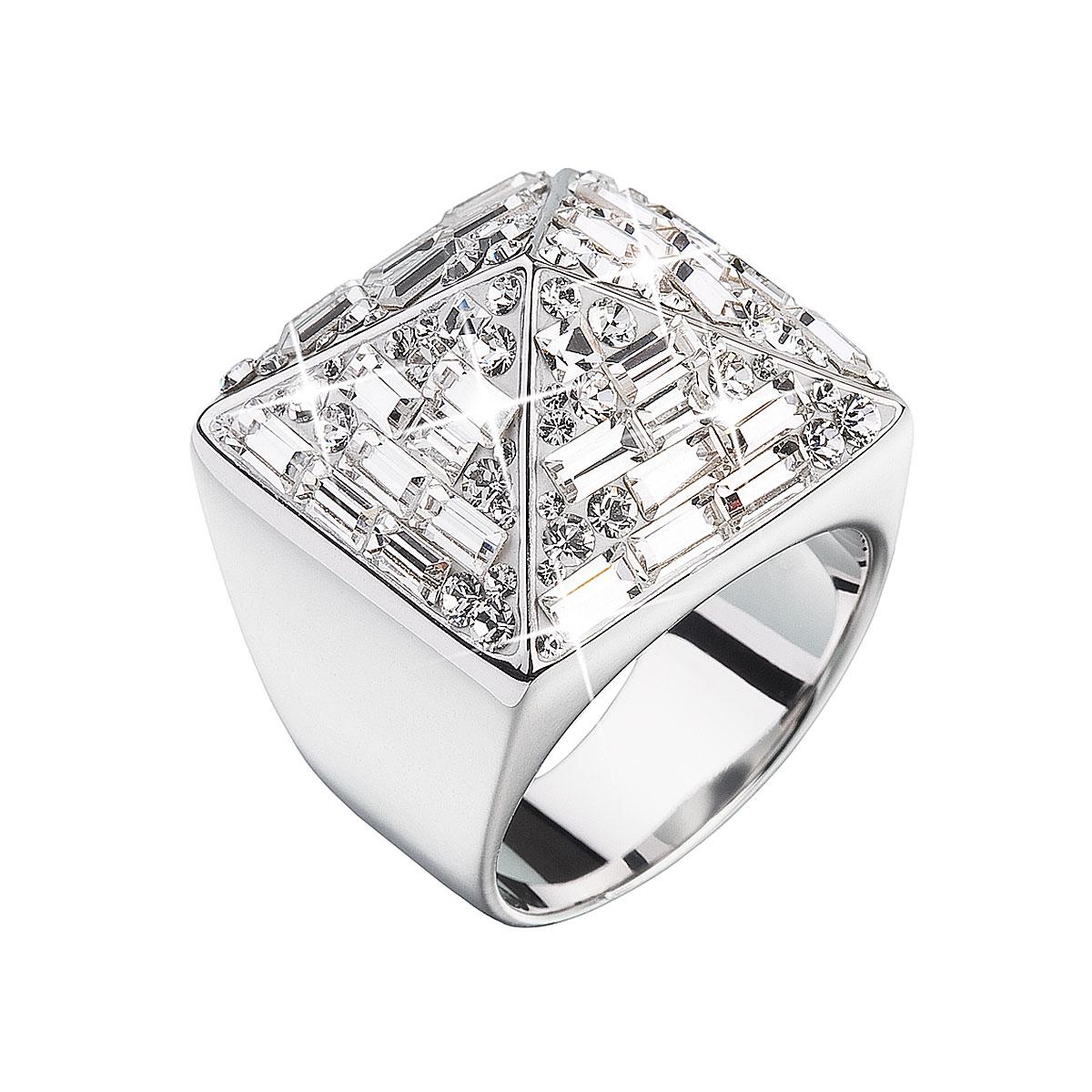 Strieborný prsteň s krištálmi biela pyramída 35810.1