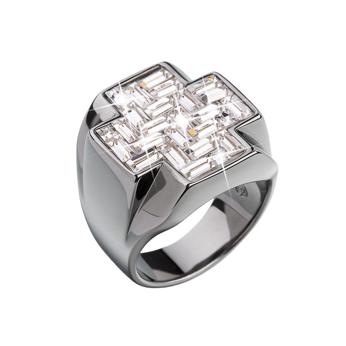 Strieborný prsteň s krištálmi biely kríž 35811.1