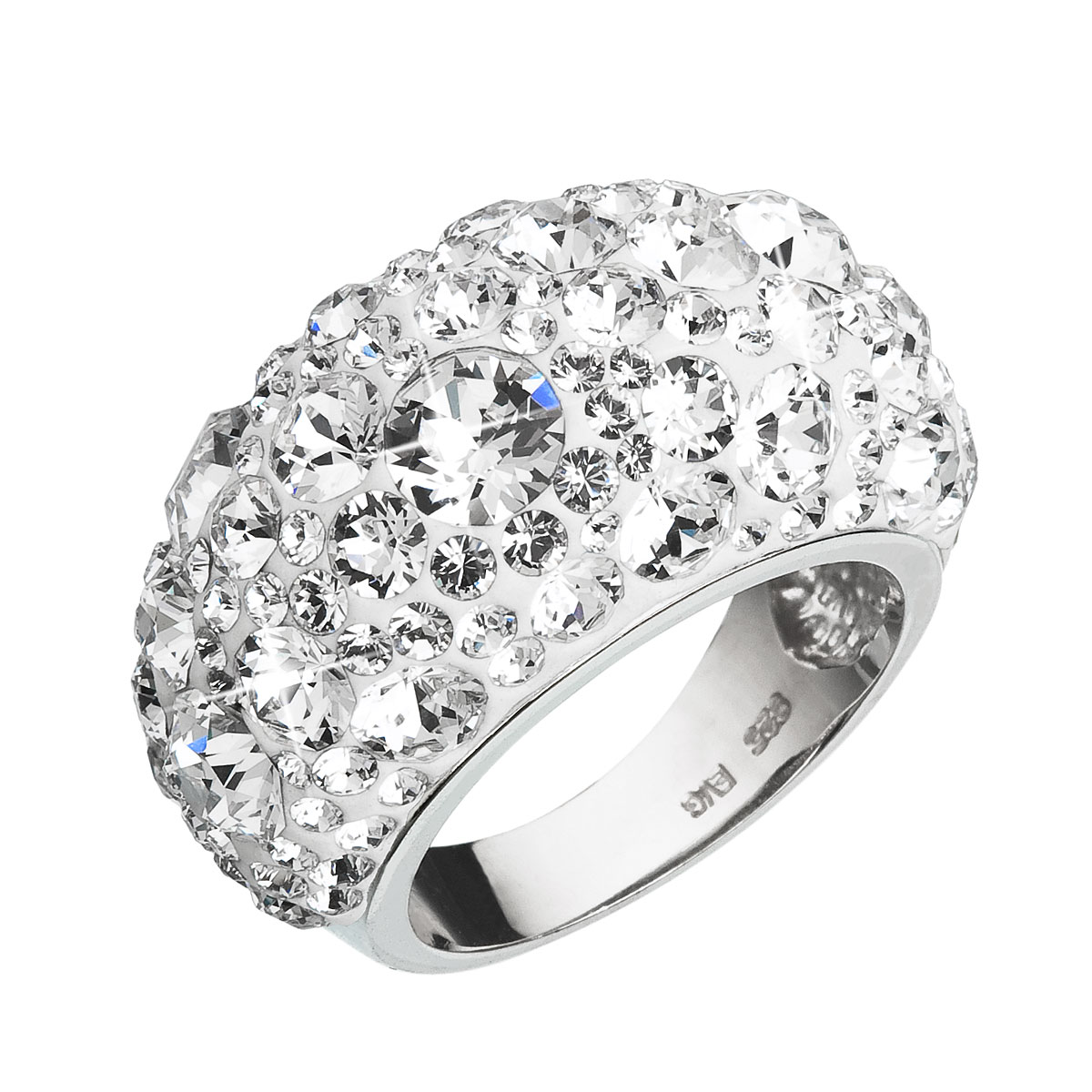 Strieborný prsteň s krištáľmi Swarovski biely 35028.1