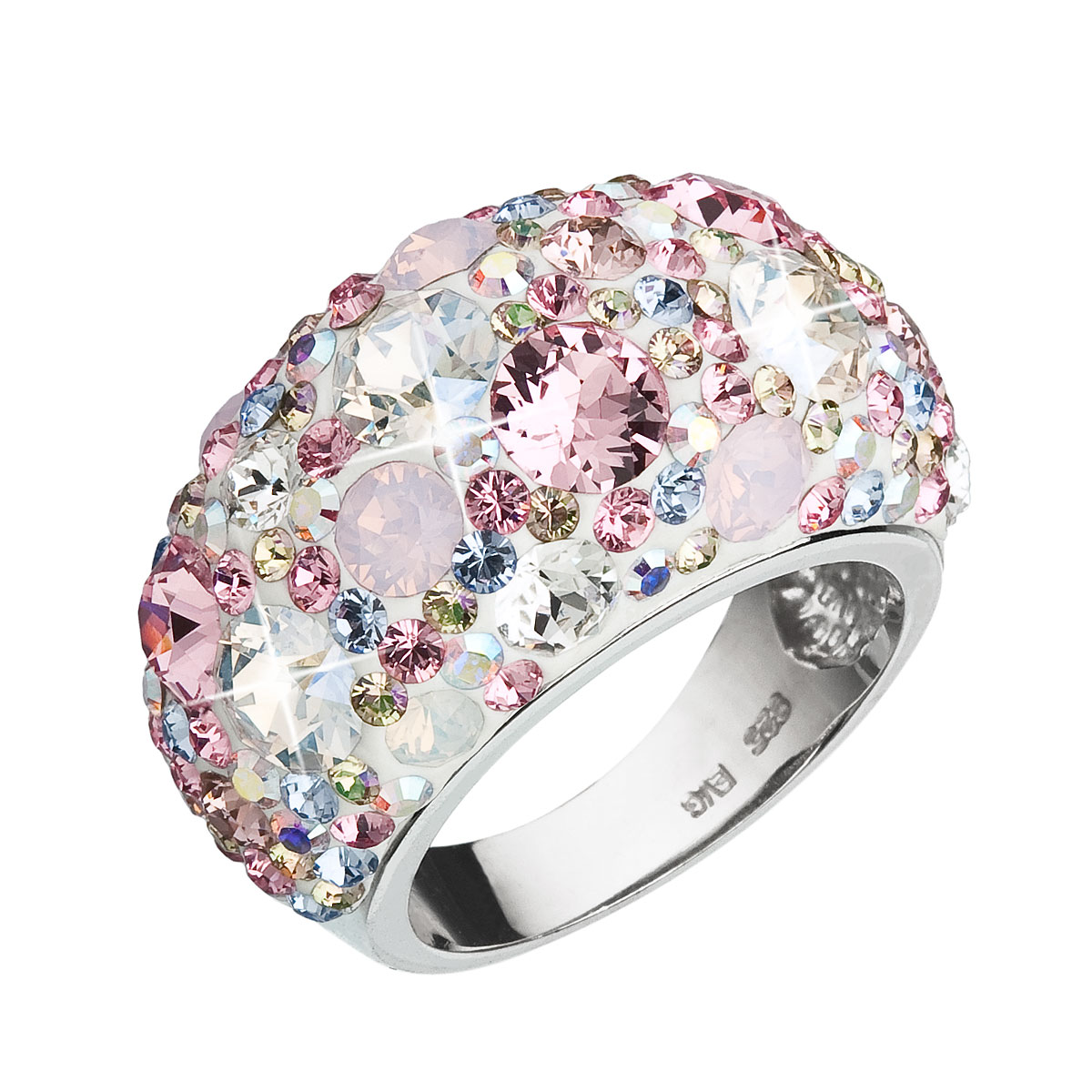 Strieborný prsteň s krištáľmi Swarovski ružový 35028.3