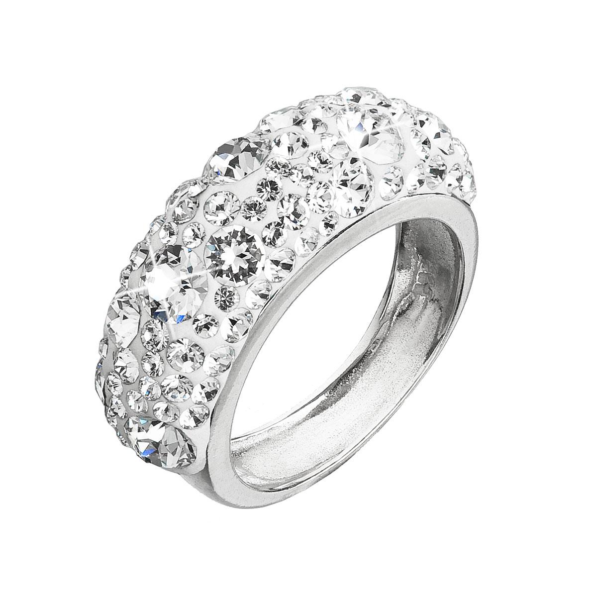 Strieborný prsteň s krištáľmi Swarovski biely 35031.1