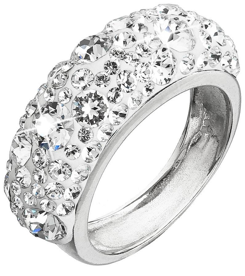 Strieborný prsteň s krištálmi Swarovski biely 35031.1  d86bc25dee1