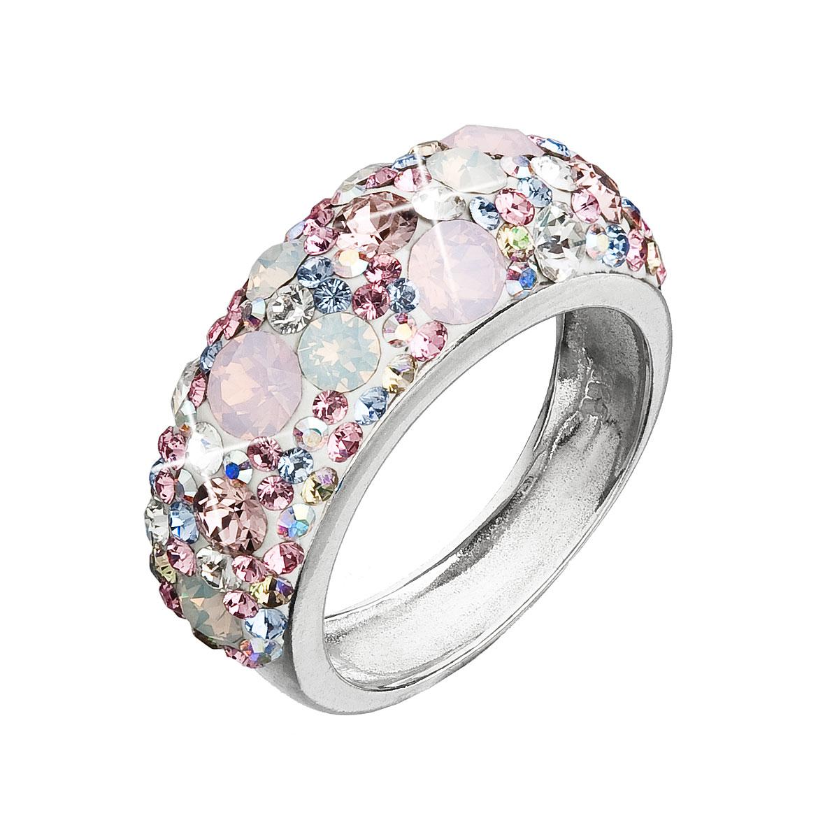 Strieborný prsteň s krištáľmi Swarovski ružový 35031.3