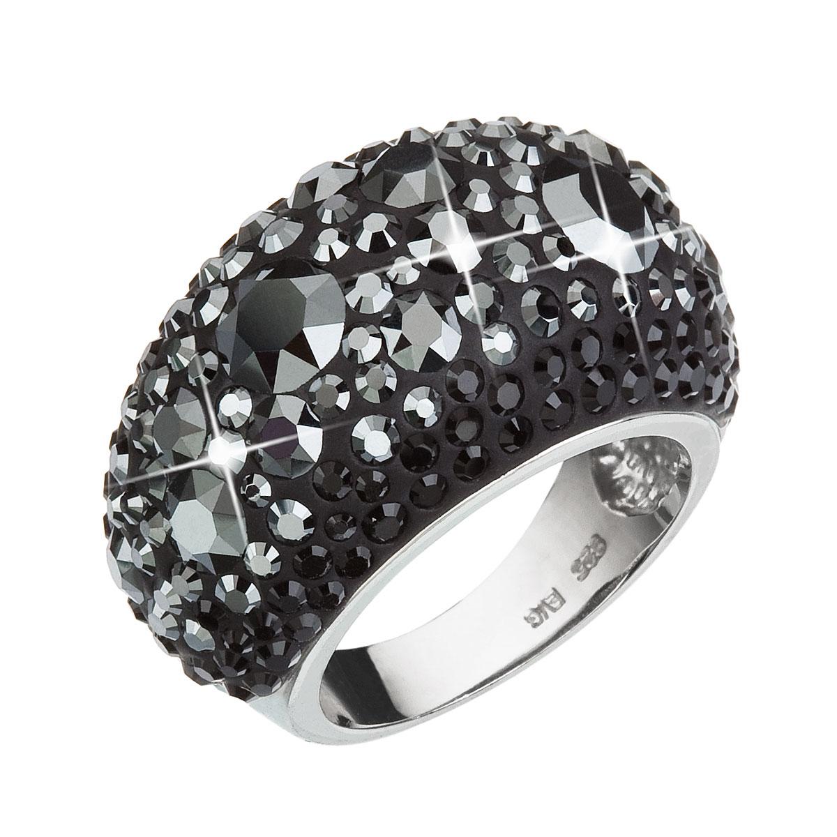 Strieborný prsteň s krištáľmi Swarovski čierny 35028.5