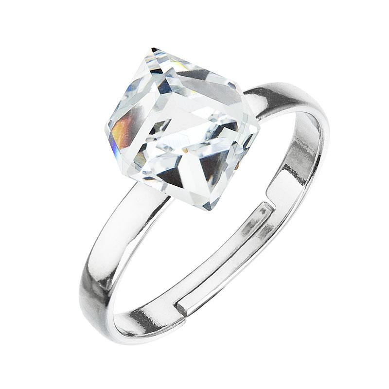 Strieborný prsteň s krištáľmi biela kostička 35011.1