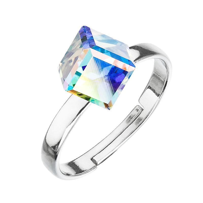Strieborný prsteň s krištáľmi AB efekt kostička 35011.2