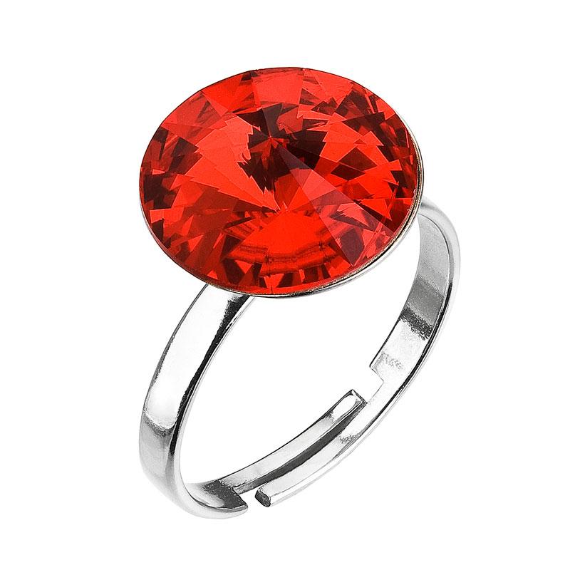 Strieborný prsteň s krištáľmi červený 35018.3 light siam
