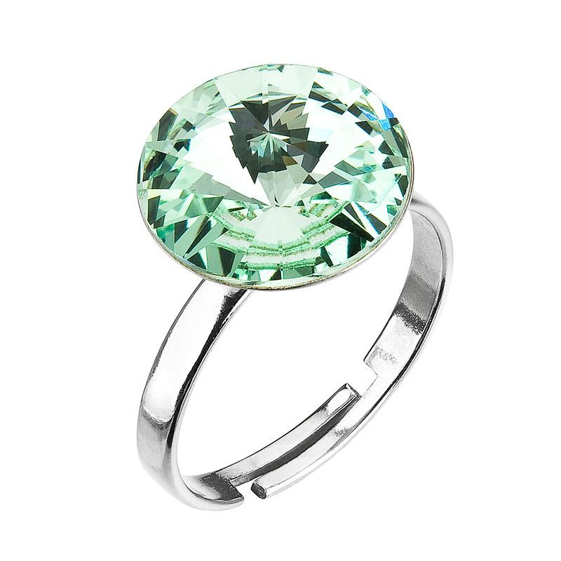 Strieborný prsteň s krištáľmi zelený 35018.3 Chrysolite