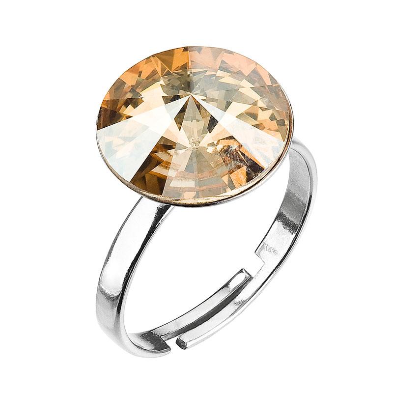 Strieborný prsteň s krištáľmi zlatý 35018.5 gold shadow