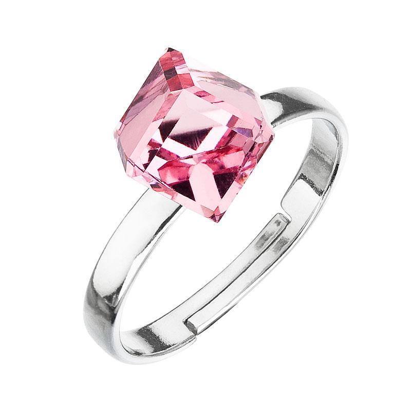 Strieborný prsteň s krištáľmi ružová kostička 35011.3