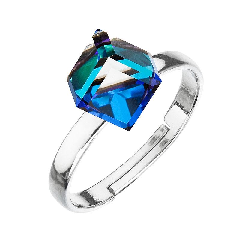 Strieborný prsteň s krištáľmi modrá kostička 35011.5 bermuda blue