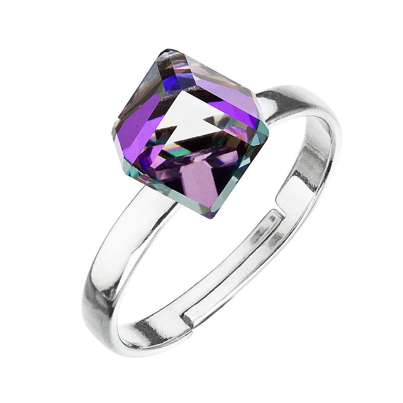 Strieborný prsteň s krištáľmi fialovo-modrá kostička 35011.5
