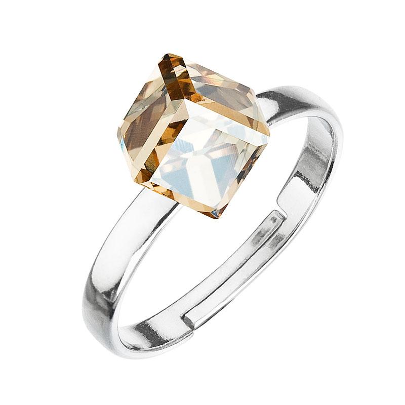 Strieborný prsteň s krištáľmi zlatá kostička 35011.5