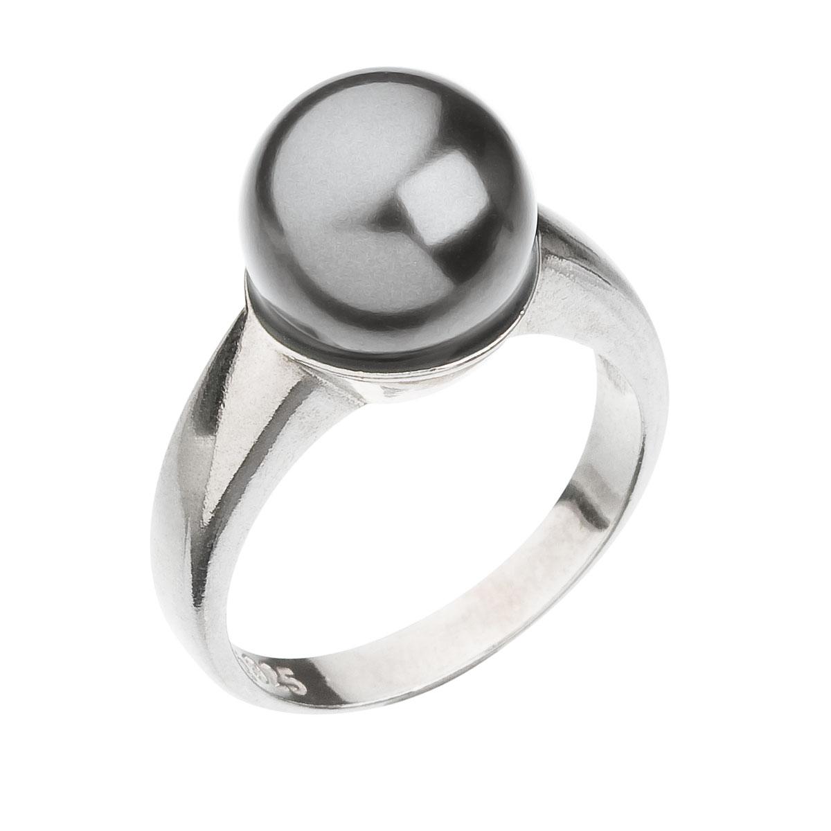 Strieborný prsteň s perlou šedý 35022.3