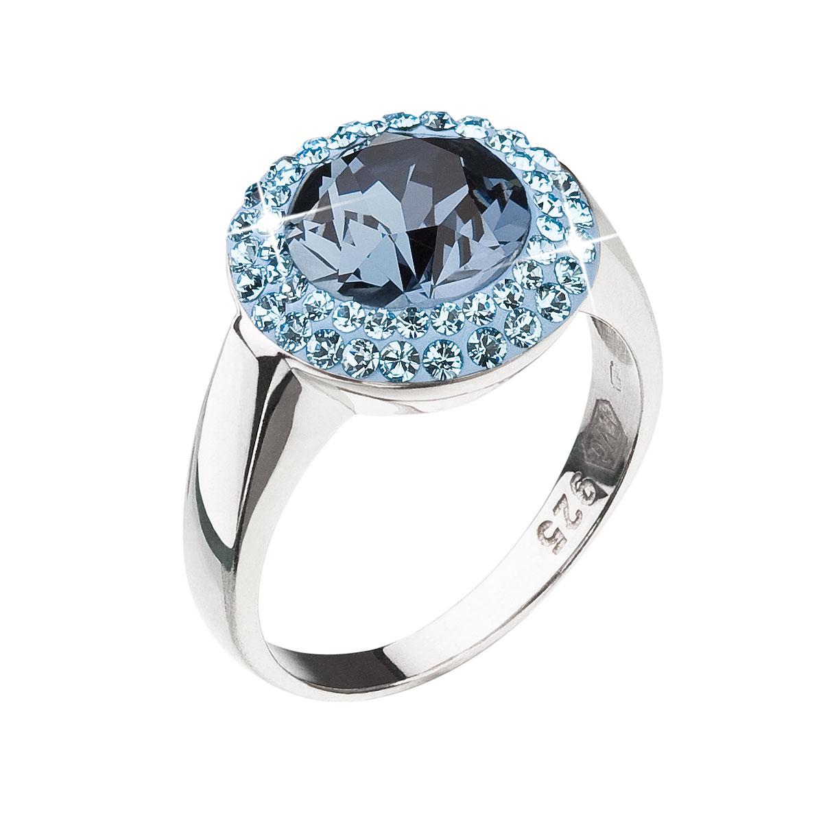 Strieborný prsteň s krištáľmi modrý okrúhly 35025.3