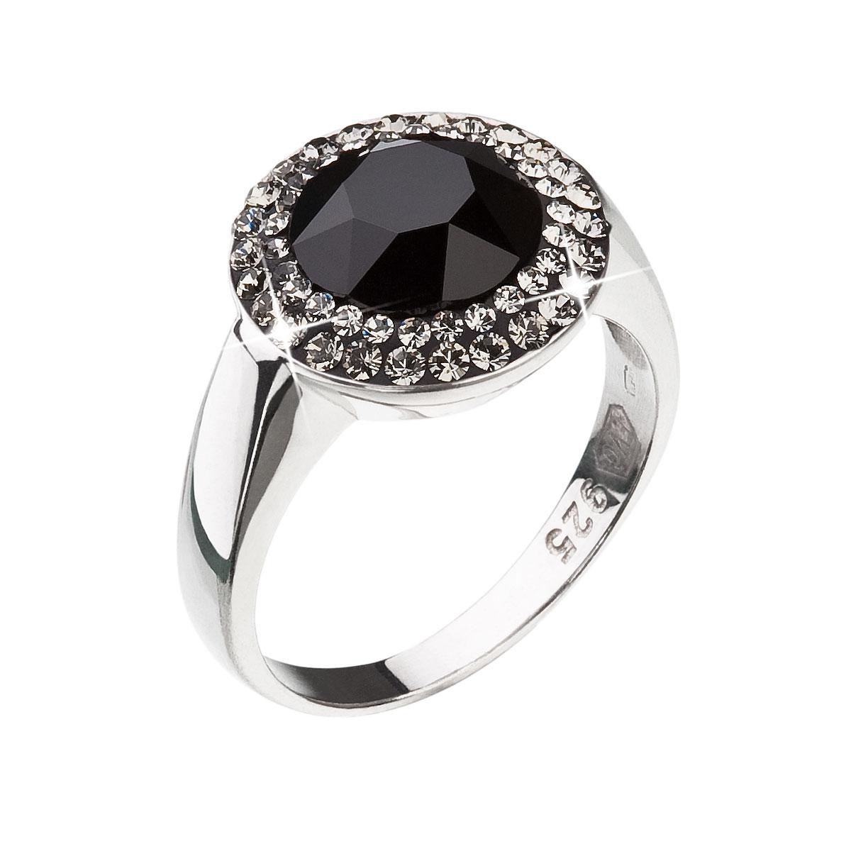 Strieborný prsteň s krištáľmi čierny 35025.3