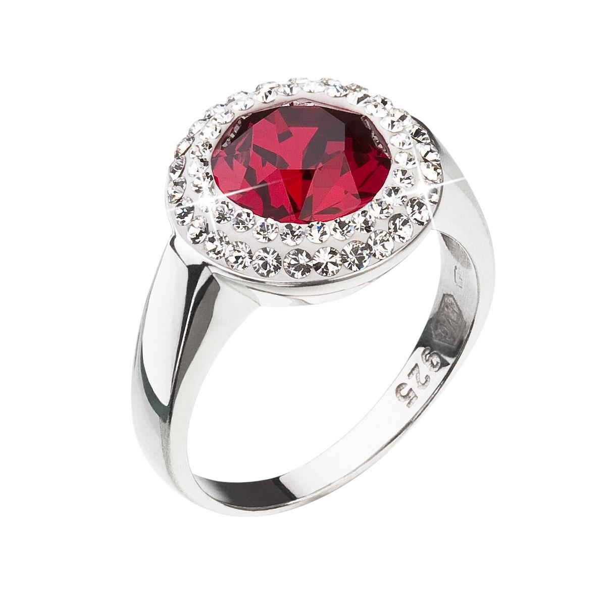 Strieborný prsteň s krištáľmi Swarovski červený okrúhly 35026.3