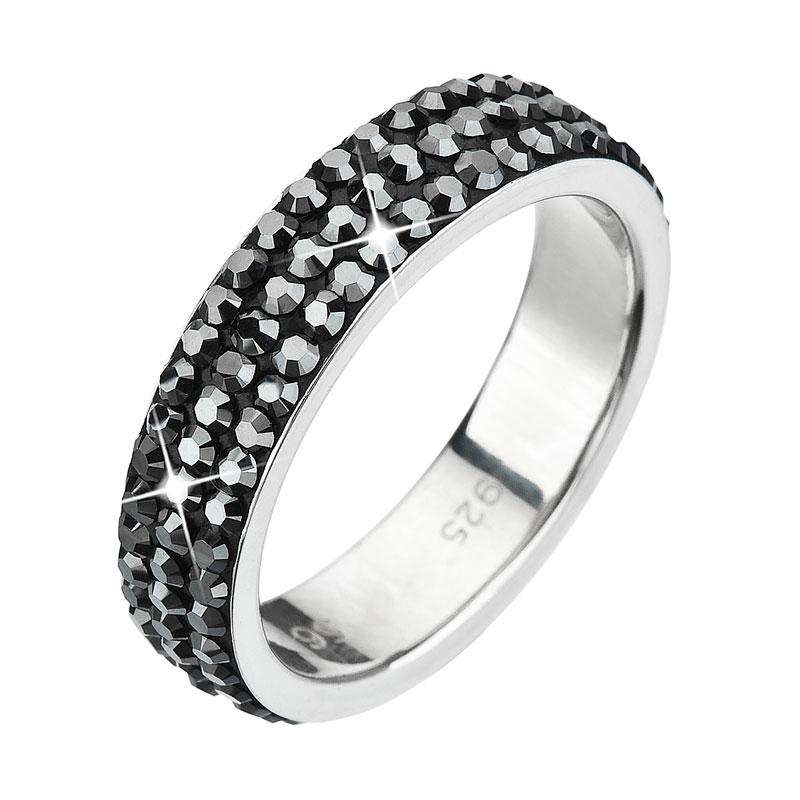 Strieborný prsteň s krištáľmi Swarovski čierny 35001.5