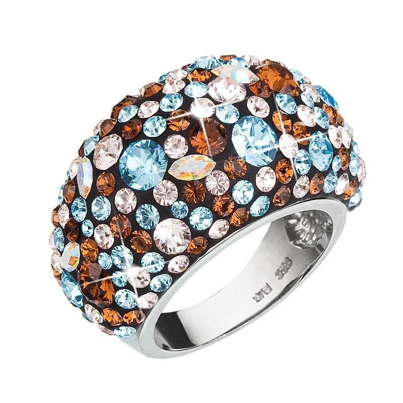 Strieborný prsteň s krištáľmi Swarovski modrý 35028.3