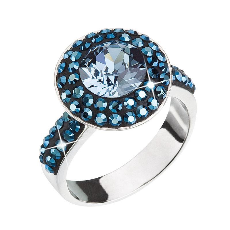 Strieborný prsteň s krištálmi modrý 35019.3
