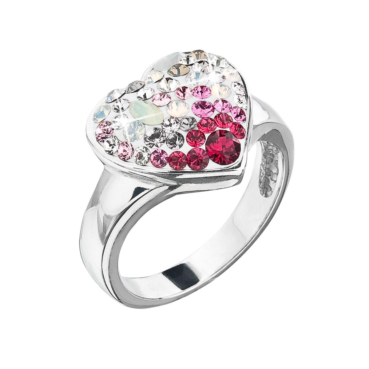 Strieborný prsteň s krištáľmi Swarovski sweet love srdce 35044.3