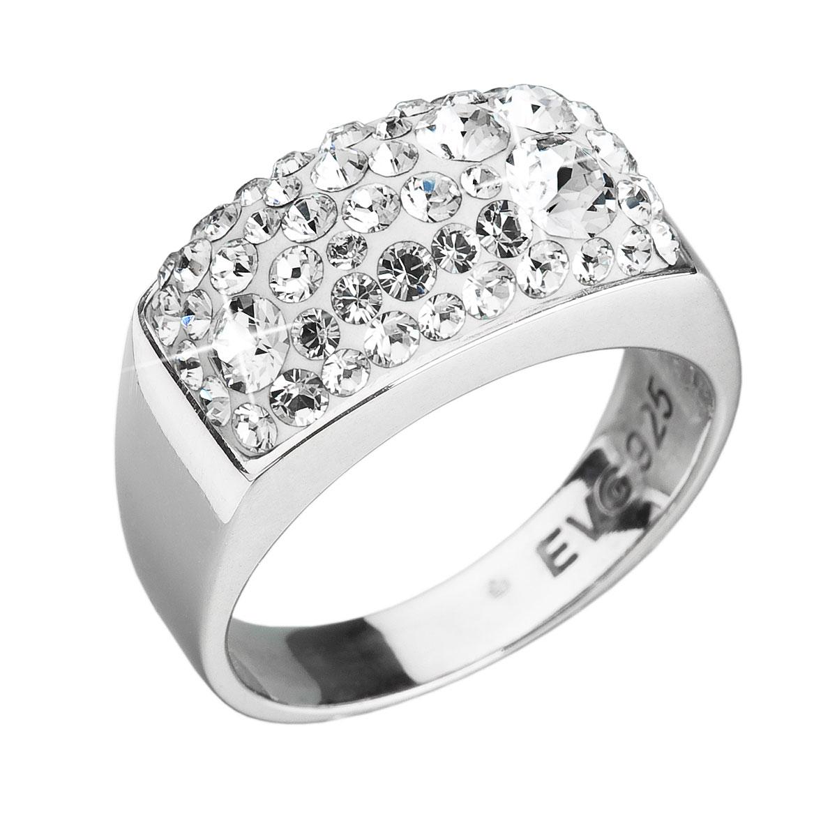Strieborný prsteň s krištáľmi biely 35014.11 krištál