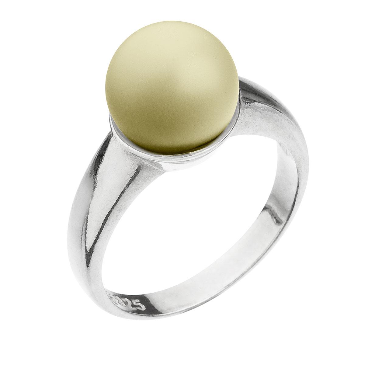 Strieborný prsteň s perlou pastelovo žltý 35022.3