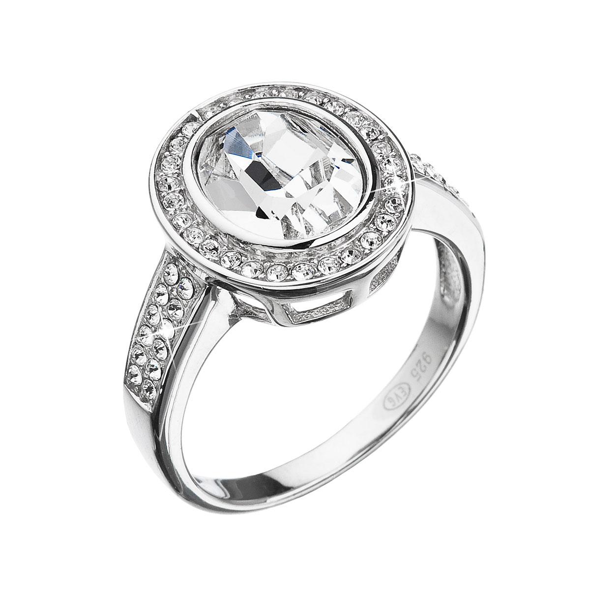 Strieborný prsteň s krištáľmi Swarovski biely 35048.1
