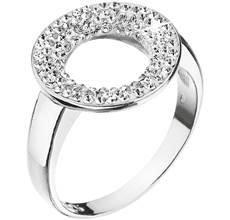 Strieborný prsteň s kryštálmi Swarovski biely kruh 35058.1 krystal 77e1036a25b