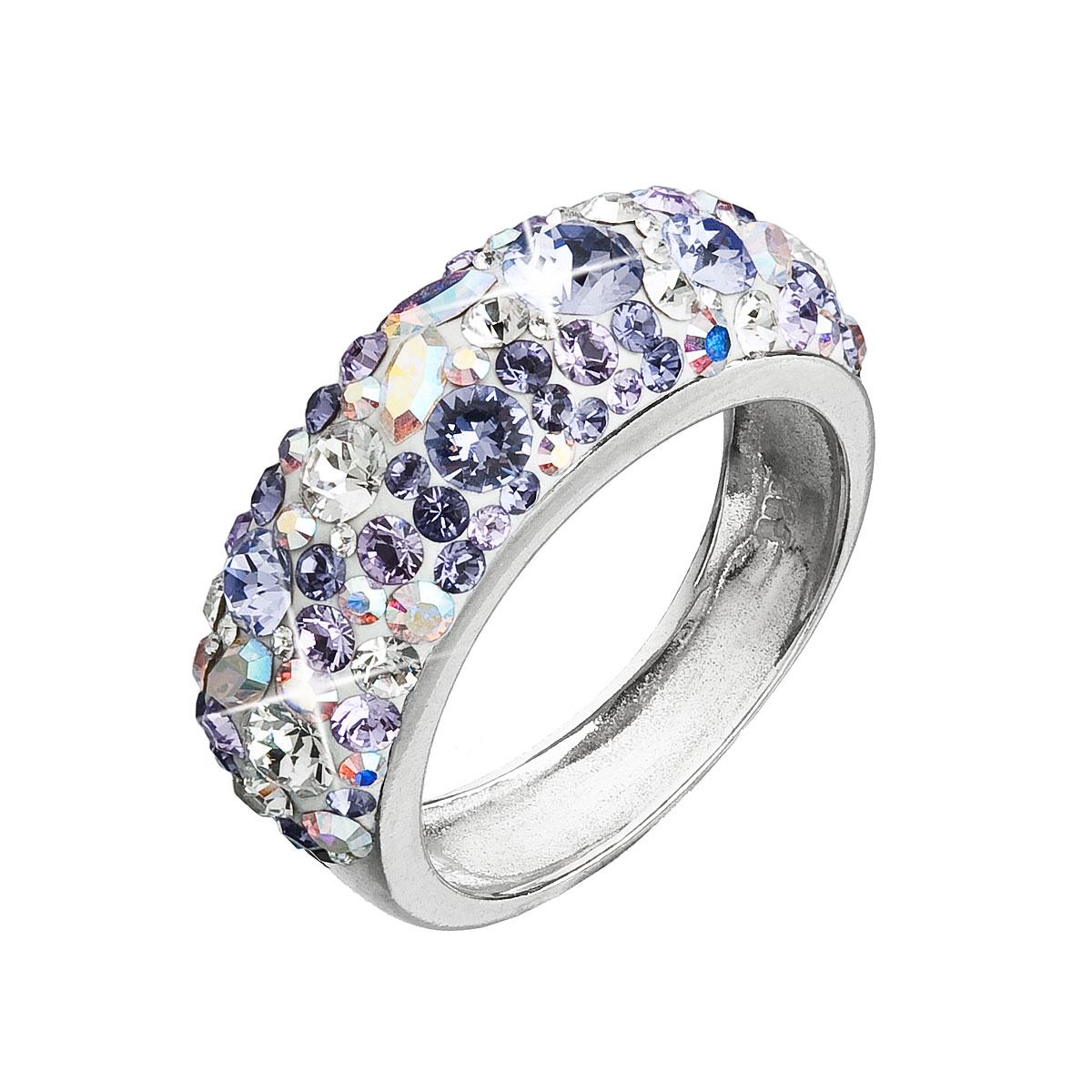 Strieborný prsteň s krištáľmi Swarovski fialový 35031.3