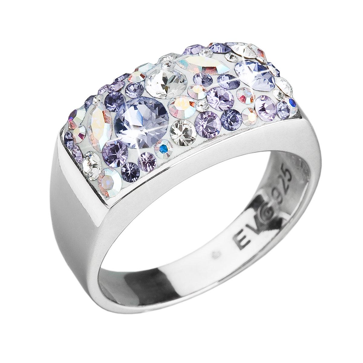 Strieborný prsteň s krištáľmi Swarovski fialový 35014.3