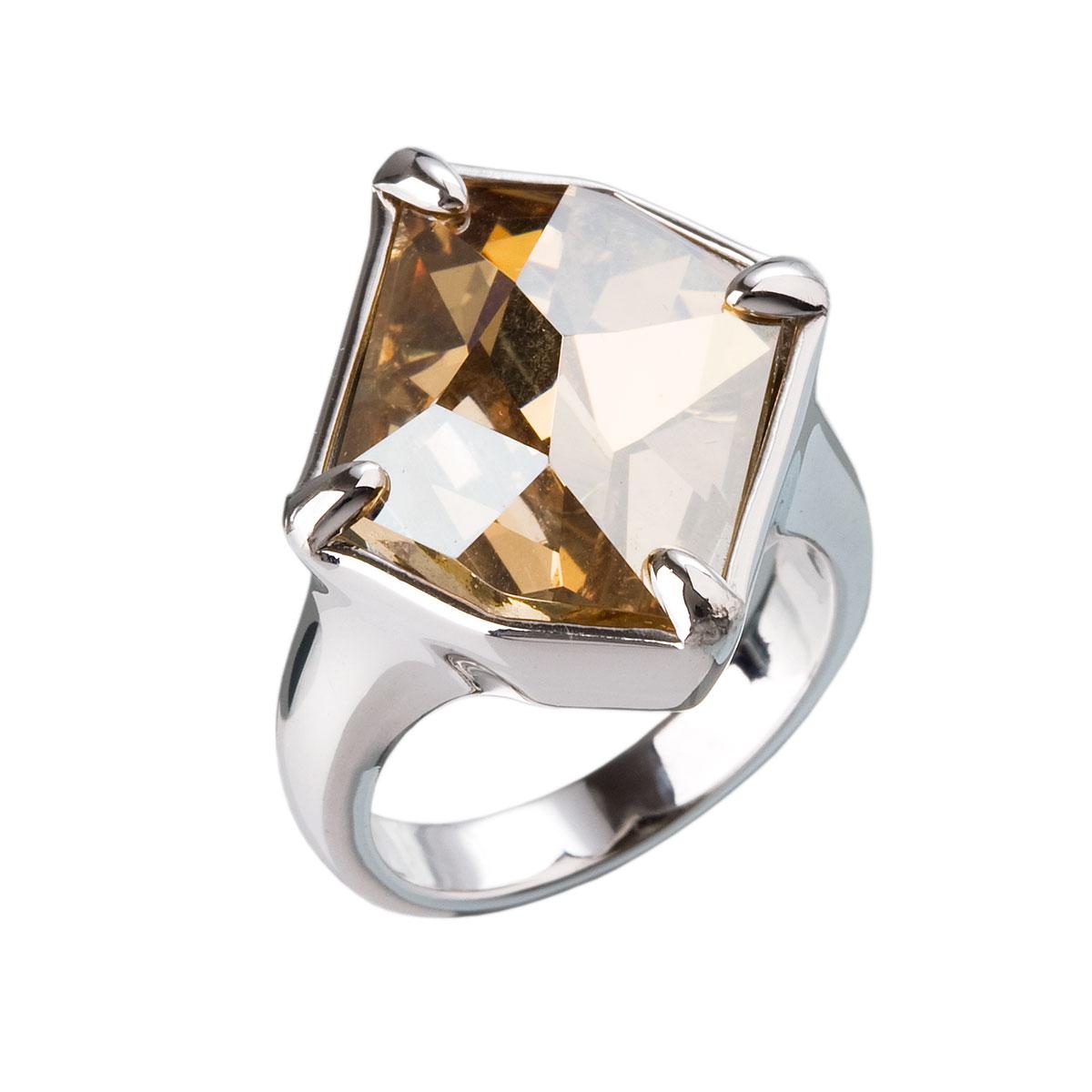Strieborný prsteň s krištálmi zlatý 35805.5