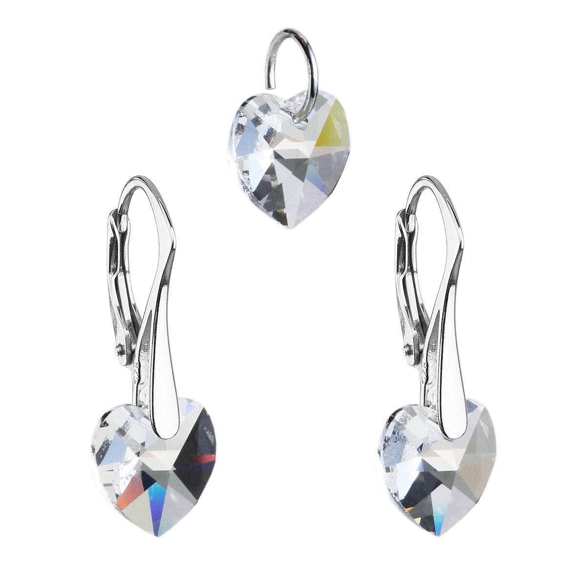Sada šperkov s krištáľmi Swarovski náušnice a prívesok biele srdcia 39003.1