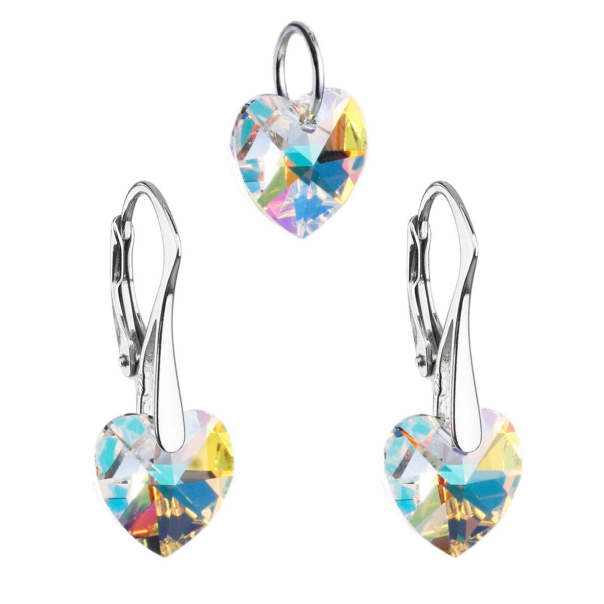 Sada šperkov s krištáľmi Swarovski náušnice a prívesok AB efekt srdce 39003.2