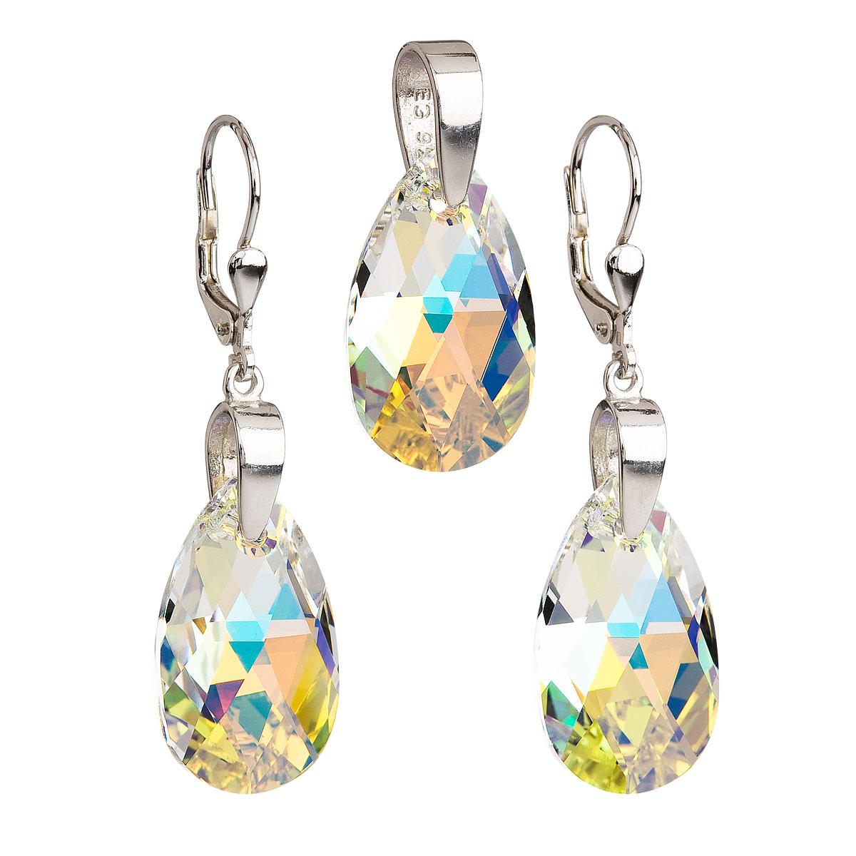 Sada šperkov s krištáľmi Swarovski náušnice a prívesok AB efekt slza 39049.2