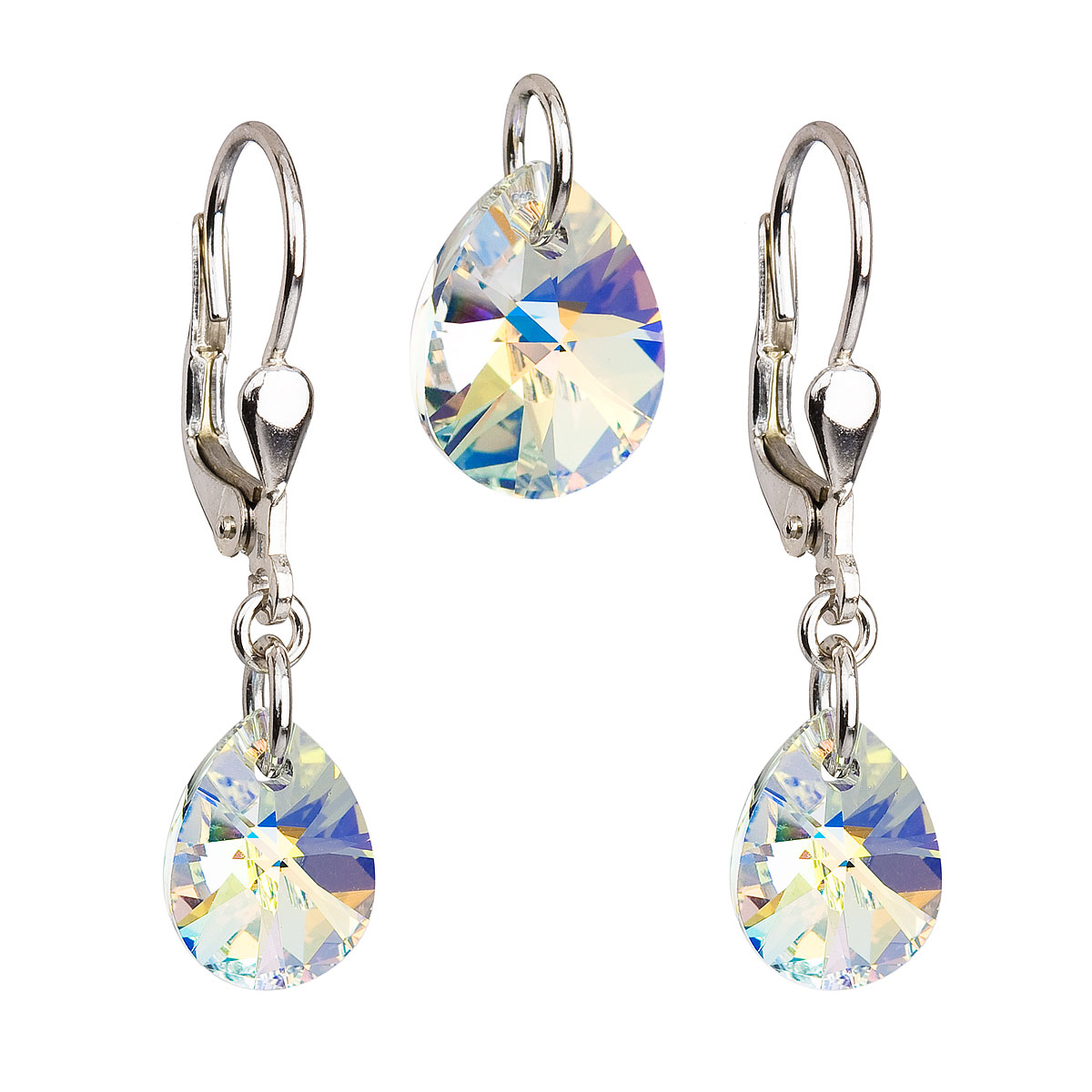 Sada šperkov s krištáľmi Swarovski náušnice a prívesok AB efekt slza 39083.2