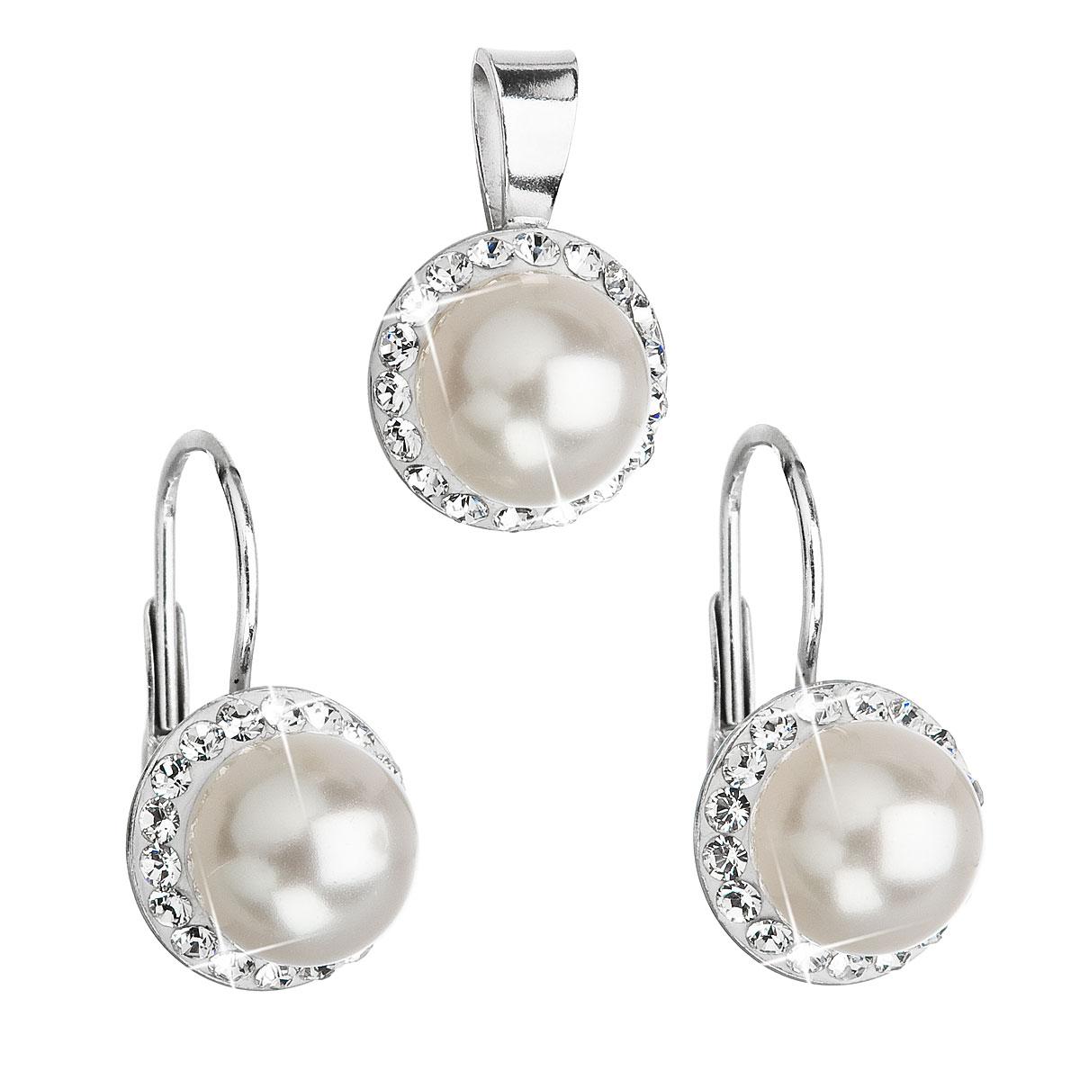 Sada šperkov s krištáľmi Swarovski náušnice a prívesok biela perla okrúhle 39091.1