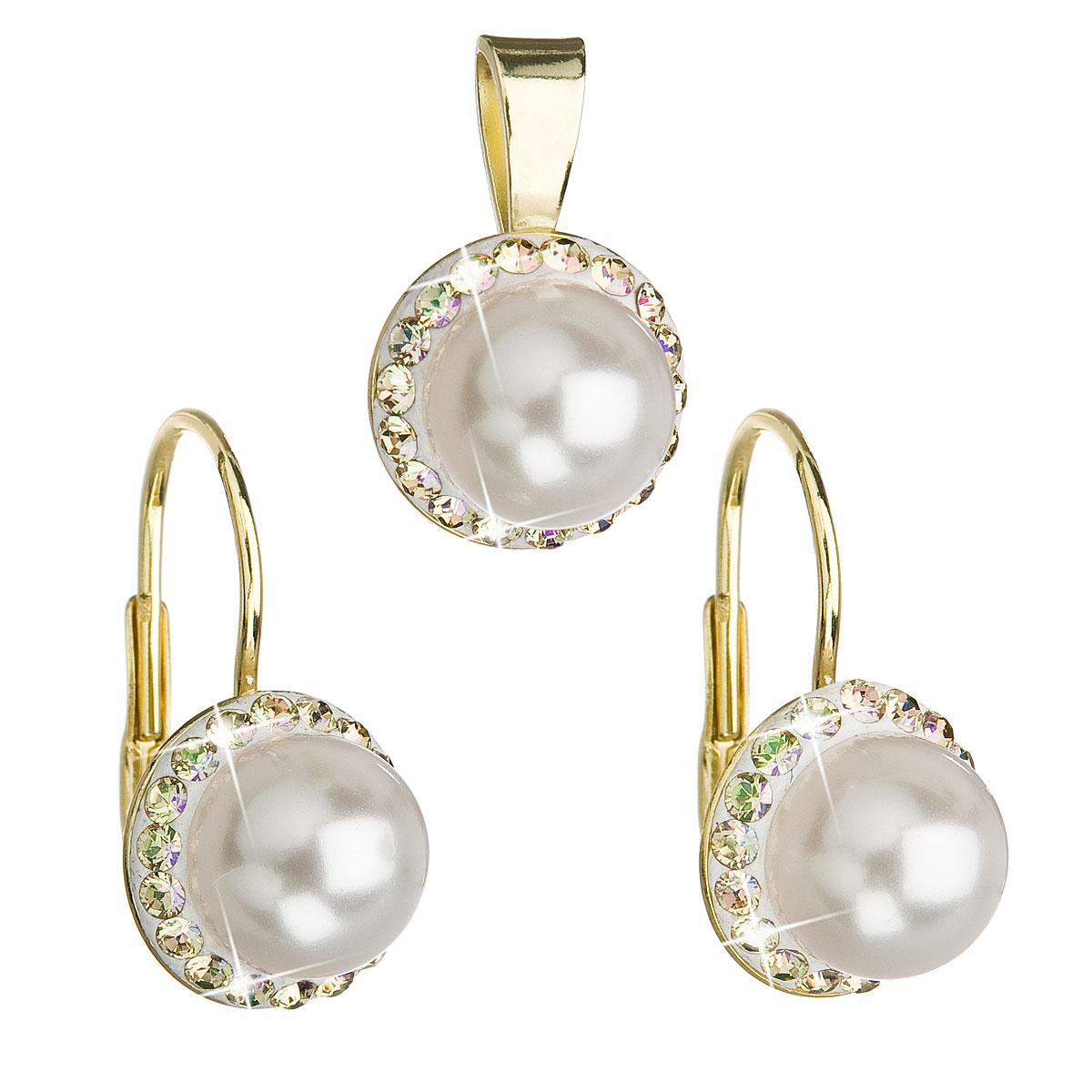 Sada šperkov s krištáľmi Swarovski náušnice a prívesok biela perla okrúhle 39091.6