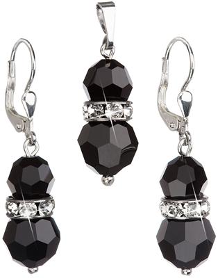 Sada šperkov s krištáľmi Swarovski náušnice a prívesok čierne okrúhle  39094.3 93c9027a362