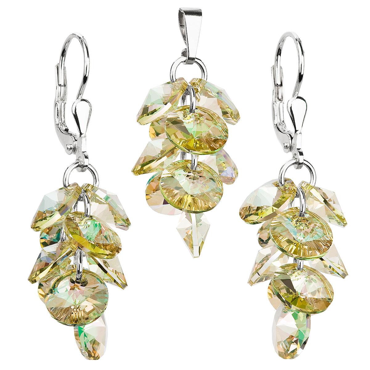 Sada šperkov s krištáľmi Swarovski náušnice a prívesok zlatý hrozno 39104.6