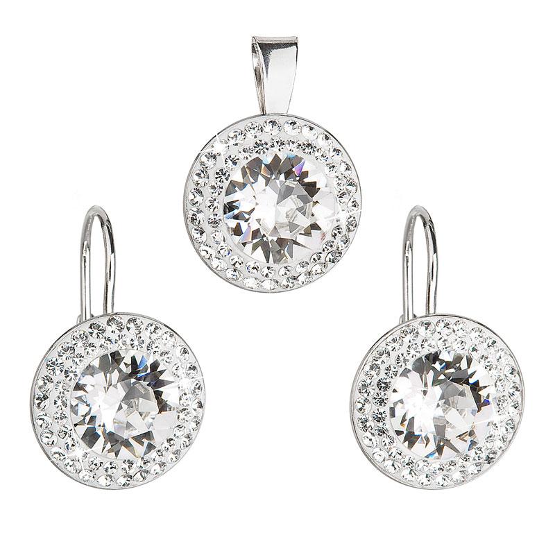 Sada šperkov s krištáľmi Swarovski náušnice a prívesok biele okrúhle 39107.1